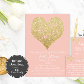 Girl Baby Shower Invitation Printable, Instant Download, Pink Girl Invitation, Gold Glitter, Baby Shower Invite Template, DIY, Digital
