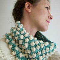 Tiffany Blue Cream White Popcorn Textured Crochet Cowl Oversized Neckwarmer Vegan Crochet Circle Scarf Boho Style