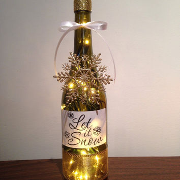 Let it Snow wine bottle lamp, winter decor, night light, accent lamp, snowflake bottle lamp