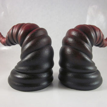 Red and Black Painted Devil's Twist Costume Horn