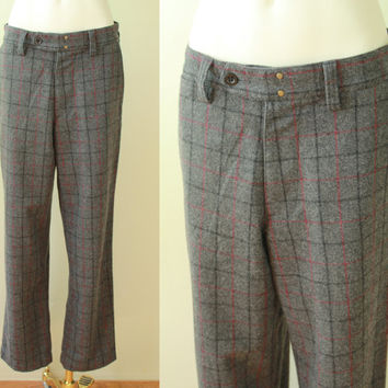 Vintage - 40s Style - Charcoal Gray & Burgundy - Plaid - Wool - Trouser - Flat Front - Mens Pants - 90s Gap - 31/32