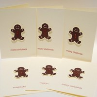 Merry Christmas Gingerbread Men Set of 6 Handcrafted Greeting Cards