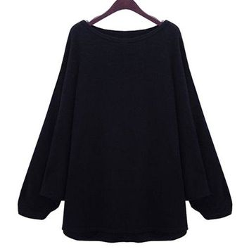 Stylish Scoop Neck Long Batwing Sleeve Solid Color Loose-Fitting Women's Knitwear