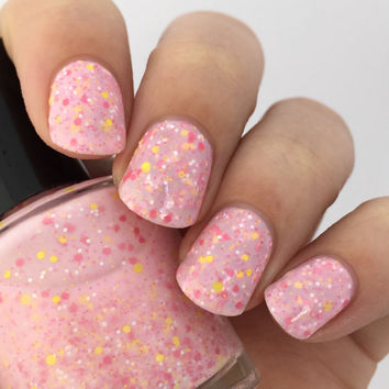 Pink Lemonade-Light Pink Crelly Glitter Mix Indie Nail Polish by Noodles Nail Polish