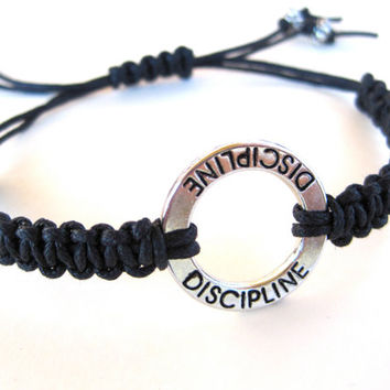 Black Hemp Braided Bracelet Inspirational Friendship Bracelet Engraved Discipline Charm Adjustable Macrame Bracelet Teen Womens Small Gift