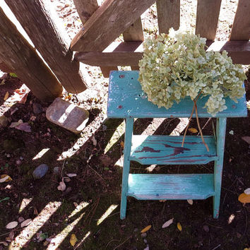 Vintage Wooden Kitchen Step Stool, Green Painted Ladder, Fold Up, Weathered Country Farmhouse Cottage Decor