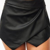 Black Faux Leather Asymmetrical Layered Skort