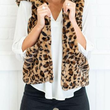 New Leopard Print Pockets Hooded Fuzzy Fur Teddy Casual Vest