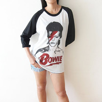David Bowie Ziggy Stardust Glam Rock Baseball Tee Shirts Raglan Long Sleeve T Shirt Size S