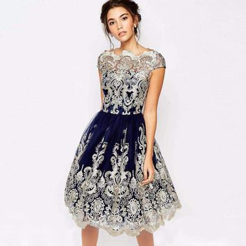 The New 2018  Summer  Women Lace Prom Floral Formal Dress Summer Party Ball Gown Dresses