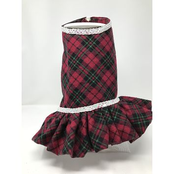 Red Green Plaid Dress Laced with shiny White Satin plus matching Collar Bow