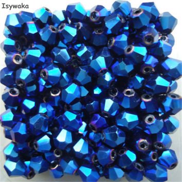 Isywaka Sale Hot Blue 200pcs 4mm Bicone Austria Crystal Beads charm Glass Beads Loose Spacer Bead for DIY Jewelry Making