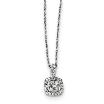 14K White Gold Diamond Necklace - Diamond Jewelry - WOMEN'S