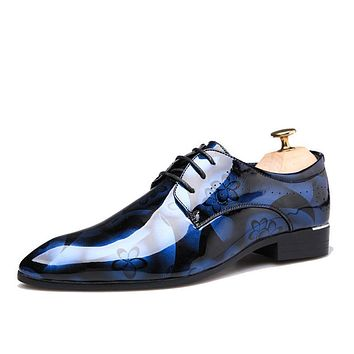 Shiny Patent Leather Lace Up Flat Oxford Shoes