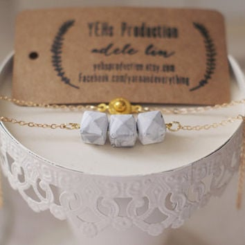 Faux Marble Necklace, White Marble, Gold Marble, Geometric Essential Oil Diffuse Necklace, Handmade Minimalist Jewelry, Bridesmaid Gift
