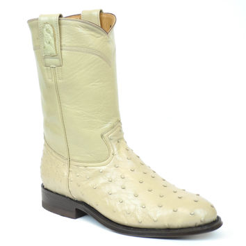 Gavel Handcrafted Women's Ivory Full Quill Ostrich Roper Round Toe Cowgirl Boots
