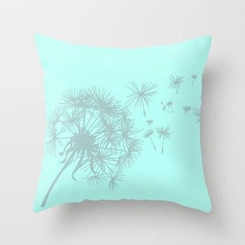 Mint Green and Gray Dandelion Throw Pillow or Cover