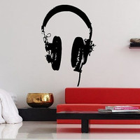 Wall Decor Vinyl Sticker Room Decal Art Music Headphones With Cord DJ Tool 983