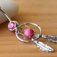 gem dream catcher Belly button Ring Silver pierced piercing Accessary 316L medical stainless steel Hypoallergenic navel ring nail