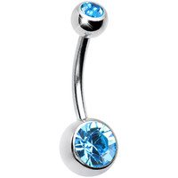 Austrian Crystal Aquamarine DOUBLE GEM Belly Ring | Body Candy Body Jewelry