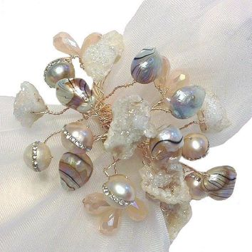 Floating Pearls & Quartz Napkin Ring
