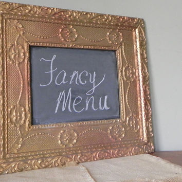 Original Up-Cycled Chalkboard from old Vintage Art Frame,  Chalk Board,  One of a Kind, Office Message Wedding Menu board