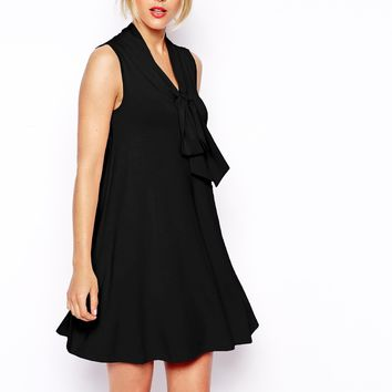 ASOS Sleeveless Swing Dress with Pussybow
