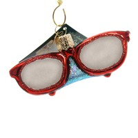 Old World Christmas SUNGLASSES Glass Ornament Eye Protection 36161 Red