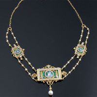 L. Gautrait & M.D. French Gold, Diamond, Pearl and Green Enamel Panel Necklace