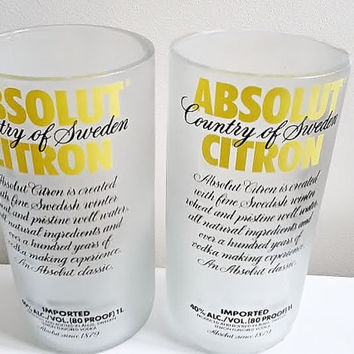 Absolut Citron Vodka Bottle Drinking Glasses Tumbler Set- NEW!