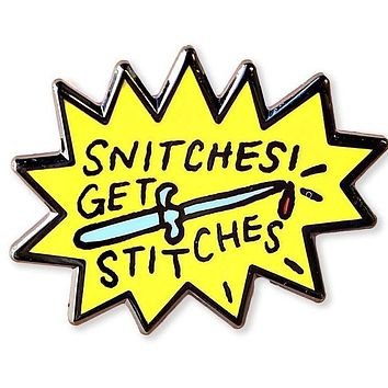 Snitches Get Stitches Enamel Pin in Yellow