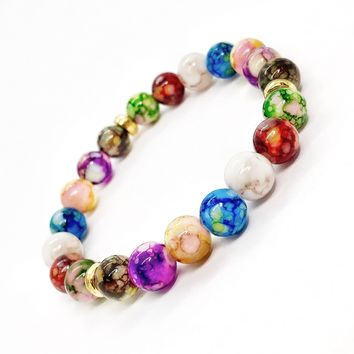 ON SALE - Triple Chakras Beaded Stretch Bracelet