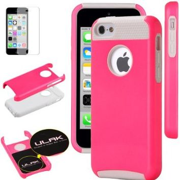iPhone 5C case, ULAK Bright Colored Slim 2in1 Shield Series Hybrid Case for Apple iPhone 5C with Rugged TPU Inner Case / Glossy PC Hard Cover (Hot Pink/Purple)