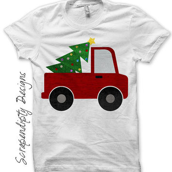 Christmas Outfit Iron on Transfer - Iron on Truck Shirt / Christmas Tree Truck T-Shirt / Holiday Kids Clothing / Boys Christmas Shirt 481-P