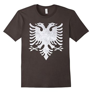 Distressed Albanian Double Eagle Head Crest T-Shirt