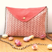 Pink Envelope Clutch with handmade crochet