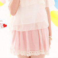 YESSTYLE: Clair Fashion- Lace-Trim Chiffon Skirt (PK - One Size) - Free International Shipping on orders over $150