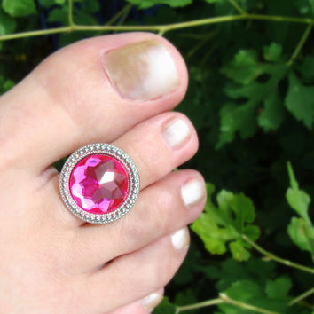 Toe Ring - Pink Glass - Round Silver Plate - Stretch Bead Toe Ring