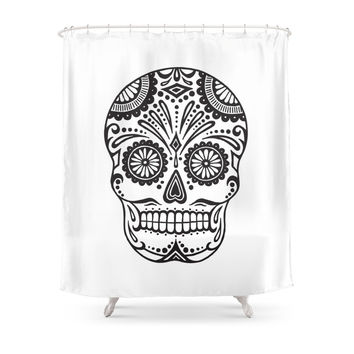 Society6 Day Of The Dead Sugar Skull Shower Curtains
