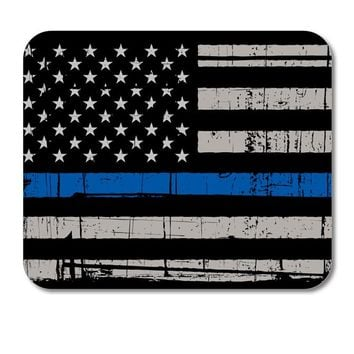 "DistinctInk Custom Foam Rubber Mouse Pad - 1/4"" Thick - Old Weathered Thin Blue Line US Flag Law Enforcement"