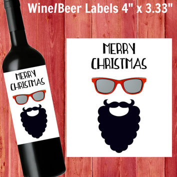 Hipster Christmas Wine Labels or Beer Labels - 6ct Christmas Labels - Christmas Party Waterproof Stickers - Minimalist - Beer - Gift for Him