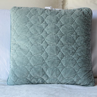 Velvet Quilted 16x16 Throw Pillow with Satin Piping in PACIFIC