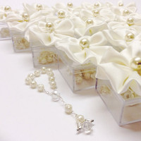 15pcs ivory favors Wedding, baptism Favor Box with Rosaries / Communion Favor Box, Rosario, Communion, boda, Confirmation, religious