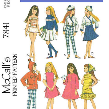 Vintage PDF Doll Sewing Pattern for 9 inch dolls, such as skipper, blythe, etc , cute clothes