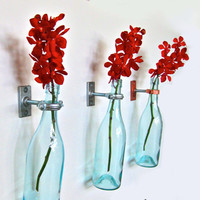Turquoise Wine Bottle Flower Vase Christmas Decor Vase by GreatBottlesofFire