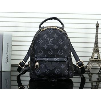 "Hot Sale ""Louis Vuitton"" Popular Woman LV Leather Shoulder Bag Bookbag Mini Backpack Black Monogram"
