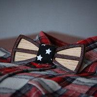 Double wooden bow tie.  White oak+red wood. 15 fabrics  to choose. Unique gift
