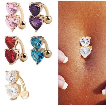 ac PEAPO2Q Crystal CZ Belly Button Ring Piercing Body jewelry 1Pc Navel Piercing 2 Colors Double Heart Shape Love