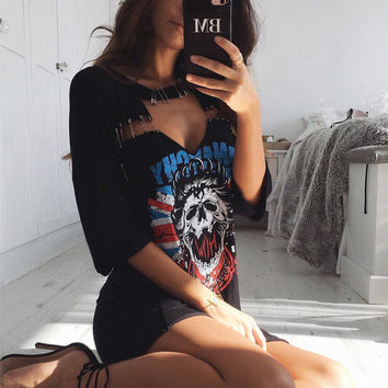 Deep V Casual Print Short Sleeve Tee One Piece Dres