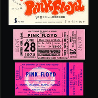 Ten 1967-77 PINK FLOYD unused paper replica concert tickets Collect, Scrapbook,made in the USA